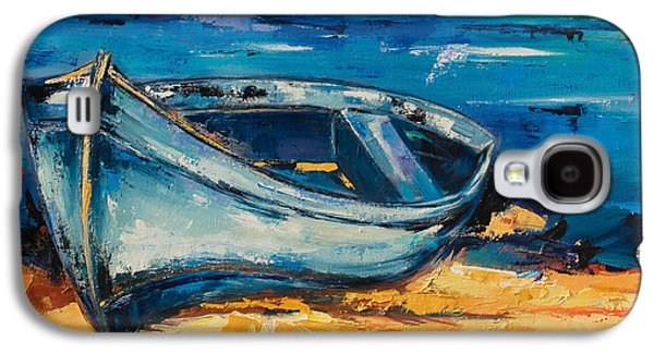 Boats On Water Galaxy S4 Cases - Blue Boat on the Mediterranean Beach Galaxy S4 Case by Elise Palmigiani