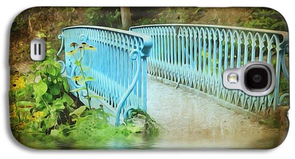 Park Scene Digital Galaxy S4 Cases - Blue Bridge Galaxy S4 Case by Svetlana Sewell