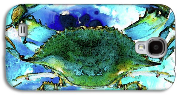 Blue Mixed Media Galaxy S4 Cases - Blue Crab - Abstract Seafood Painting Galaxy S4 Case by Sharon Cummings