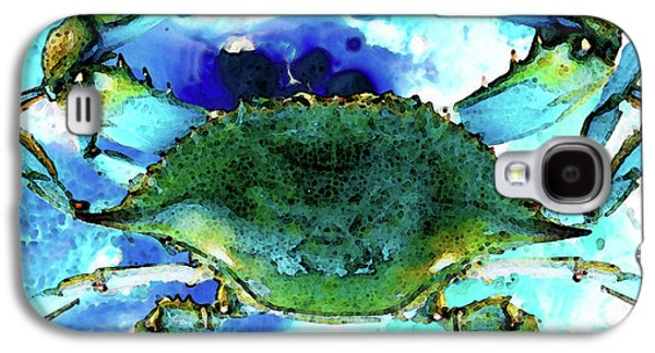 News Mixed Media Galaxy S4 Cases - Blue Crab - Abstract Seafood Painting Galaxy S4 Case by Sharon Cummings