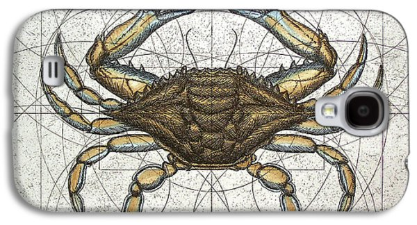 Graphic Mixed Media Galaxy S4 Cases - Blue Crab Galaxy S4 Case by Charles Harden