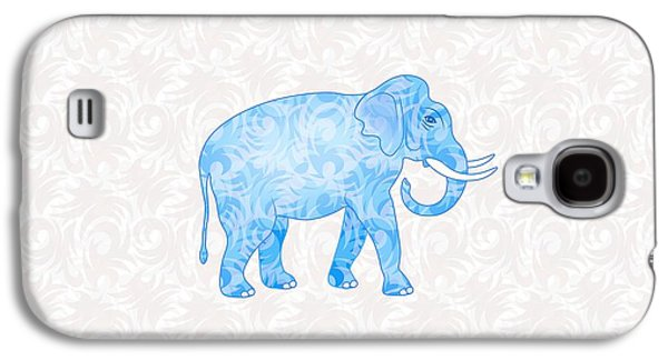 Animals Digital Galaxy S4 Cases - Blue Damask Elephant Galaxy S4 Case by Antique Images