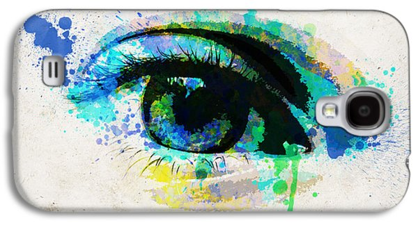 Abstract Sights Digital Galaxy S4 Cases - Blue eye watercolor Galaxy S4 Case by Delphimages Photo Creations