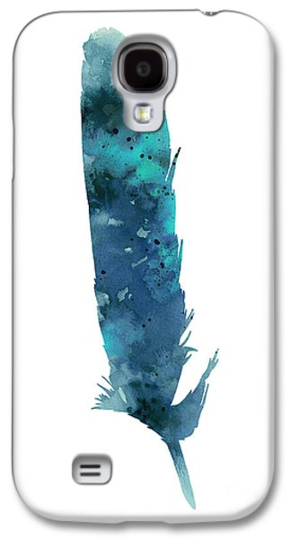 Abstracts Jewelry Galaxy S4 Cases - Blue feather giclee print Galaxy S4 Case by Joanna Szmerdt