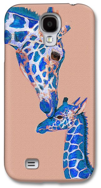 Giraffe Digital Galaxy S4 Cases - Blue Giraffes 2 Galaxy S4 Case by Jane Schnetlage