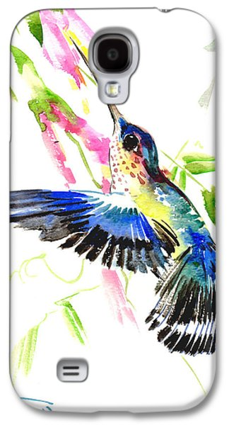 Black Bird.flying Paintings Galaxy S4 Cases - Blue Hummingbird Galaxy S4 Case by Suren Nersisyan