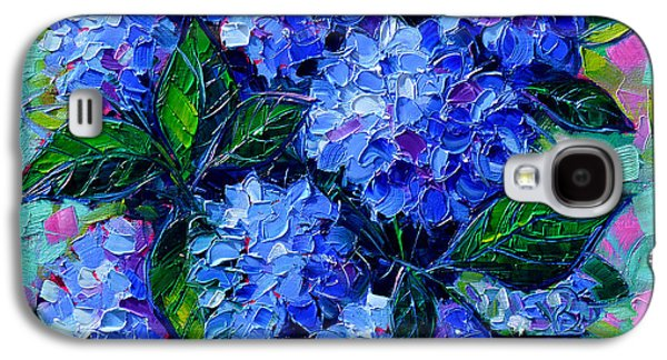 Abstracted Galaxy S4 Cases - Blue Hydrangeas - Abstract Floral Composition Galaxy S4 Case by Mona Edulesco