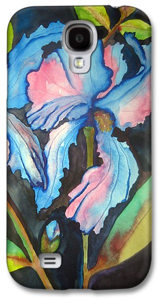 Spring Bulbs Paintings Galaxy S4 Cases - Blue Iris Galaxy S4 Case by Lil Taylor