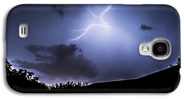 Creepy Galaxy S4 Cases - Blue Lightning Galaxy S4 Case by Shelby  Young