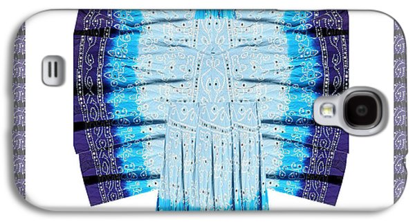 Animation Galaxy S4 Cases - Blue Moon Butterfly Womens Fashion Couture from Jaipur India Cotton Printed fabric with embroidary w Galaxy S4 Case by Navin Joshi