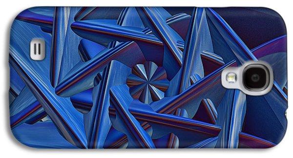 Abstract Digital Art Galaxy S4 Cases - Blue on Blue Galaxy S4 Case by Deborah Benoit
