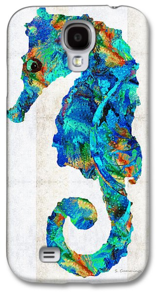 Blue Seahorse Art By Sharon Cummings Galaxy S4 Case by Sharon Cummings