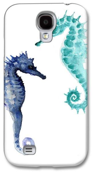Blue Seahorses Watercolor Painting Galaxy S4 Case by Joanna Szmerdt