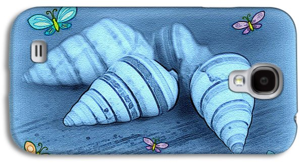 Seashell Digital Art Galaxy S4 Cases - Blue seashells Galaxy S4 Case by Linda Sannuti