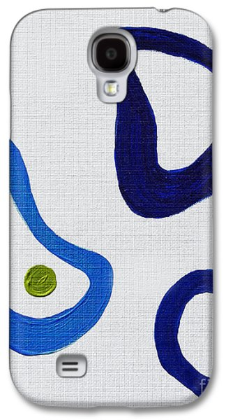 Abstract Forms Galaxy S4 Cases - Blue Shapes in Contemporary Galaxy S4 Case by Janice Rae Pariza
