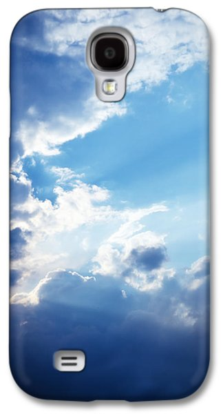 Blue Sky And Clouds With Sun Light Galaxy S4 Case by Jozef Klopacka