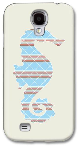 Blue Stripe Seahorse Art Galaxy S4 Case by Christina Rollo