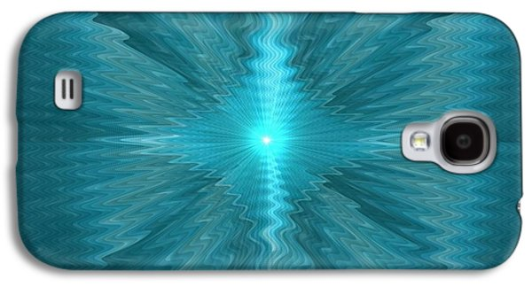 Abstract Digital Pastels Galaxy S4 Cases - Blue Sun Exploding H b Galaxy S4 Case by Gert J Rheeders