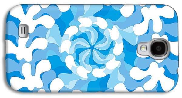 Blue Abstracts Drawings Galaxy S4 Cases - Blue Swirl Galaxy S4 Case by Frank Tschakert
