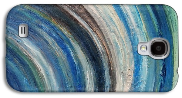 Cosmology Paintings Galaxy S4 Cases - Blue wave Galaxy S4 Case by Kathleen Wong
