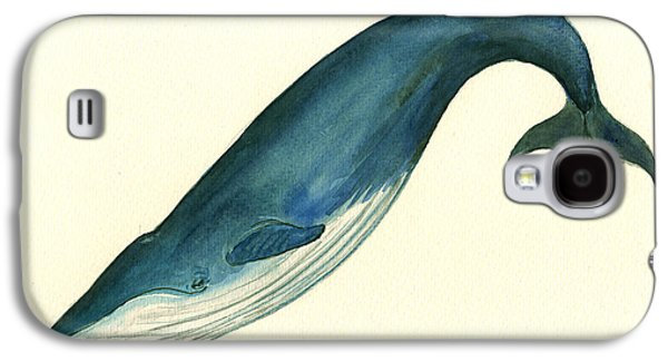 Blue Whale Painting Galaxy S4 Case by Juan  Bosco
