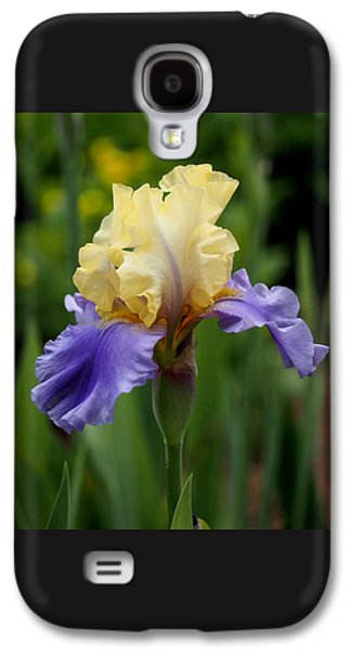 Botanical Galaxy S4 Cases - Blue Yellow Iris Germanica Galaxy S4 Case by Rona Black