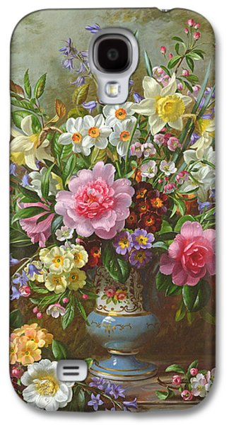 Pottery Paintings Galaxy S4 Cases - Bluebells daffodils primroses and peonies in a blue vase Galaxy S4 Case by Albert Williams