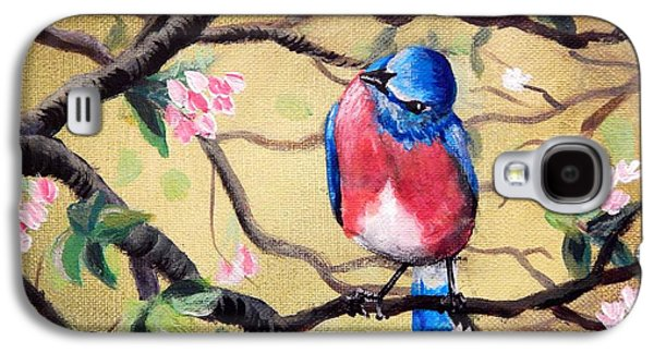 Wildlife Celebration Paintings Galaxy S4 Cases - Bluebird by Gretchen Smith Galaxy S4 Case by Gretchen  Smith