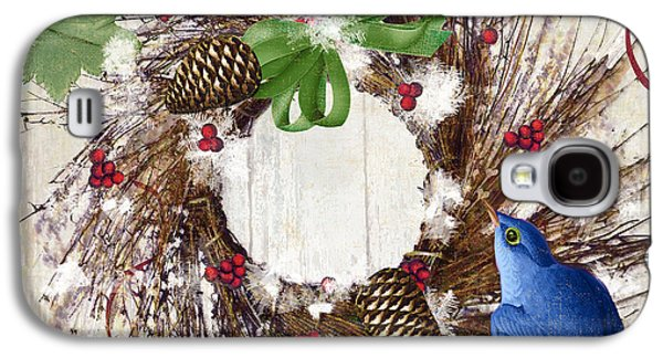Wreath Paintings Galaxy S4 Cases - Bluebird Christmas II Galaxy S4 Case by Mindy Sommers