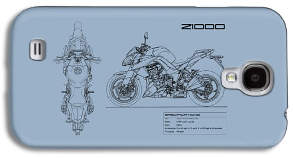 Blueprint Of A Z1000 Motorcycle Galaxy S4 Case by Mark Rogan