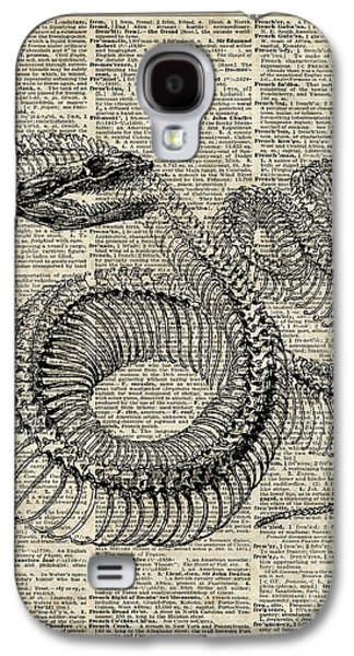 Reptiles Drawings Galaxy S4 Cases - Boa Snake Skielet an dictionary page Galaxy S4 Case by Jacob Kuch