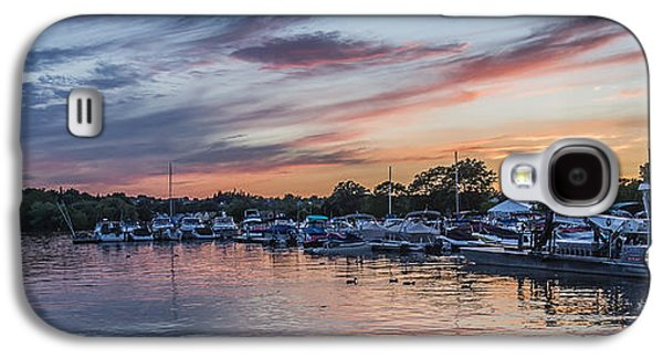 Transportation Photographs Galaxy S4 Cases - Boats at Sunset Galaxy S4 Case by Joann Long