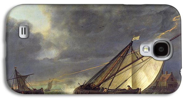 Thunder Paintings Galaxy S4 Cases - Boats in the Estuary of Holland Diep in a Storm Galaxy S4 Case by Aelbert Cuyp