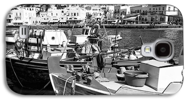 Boats In Harbor Galaxy S4 Cases - Boats in the Mykonos Harbor mon Galaxy S4 Case by John Rizzuto