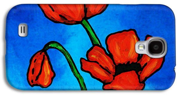 Sisters Galaxy S4 Cases - Bold Red Poppies - Colorful Flowers Art Galaxy S4 Case by Sharon Cummings