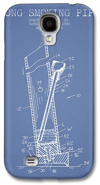 Weed Digital Art Galaxy S4 Cases - Bong Smoking Pipe Patent1980 - Light Blue Galaxy S4 Case by Aged Pixel
