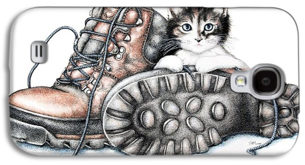 Playing Drawings Galaxy S4 Cases - Boots and Kitten Galaxy S4 Case by Sandra Moore