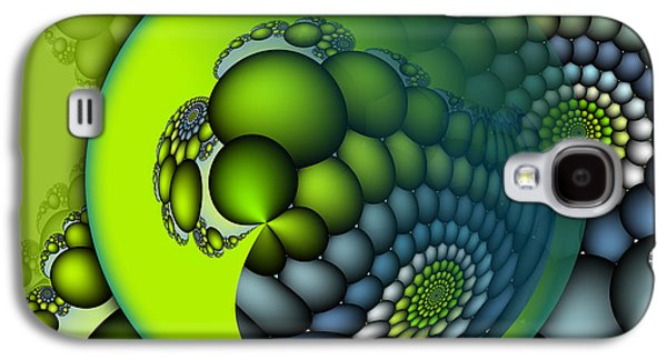 Blue Abstracts Digital Galaxy S4 Cases - Born to Be Green Galaxy S4 Case by Jutta Maria Pusl