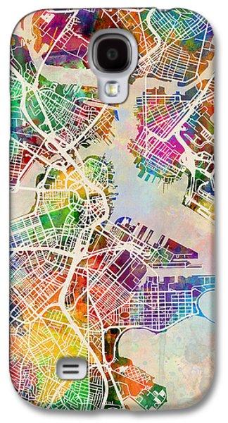 Urban Street Galaxy S4 Cases - Boston Massachusetts Street Map Galaxy S4 Case by Michael Tompsett
