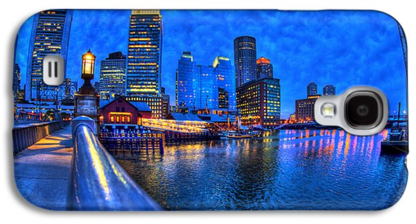 Gas Lamp Photographs Galaxy S4 Cases - Boston Skyline at Night and Tea Party Museum in Fort Point CHannel Galaxy S4 Case by Joann Vitali