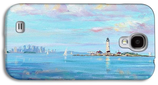 New England Lighthouse Paintings Galaxy S4 Cases - Boston Skyline Galaxy S4 Case by Laura Lee Zanghetti