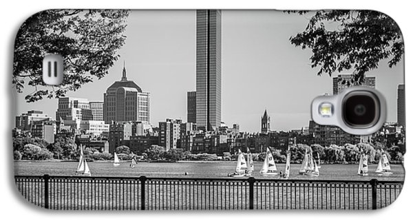 Boston Skyline Sailboats Black And White Photo Galaxy S4 Case by Paul Velgos