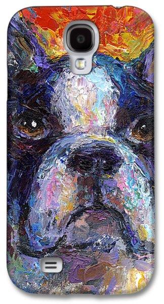 Puppy Drawings Galaxy S4 Cases - Boston Terrier Impressionistic portrait painting Galaxy S4 Case by Svetlana Novikova