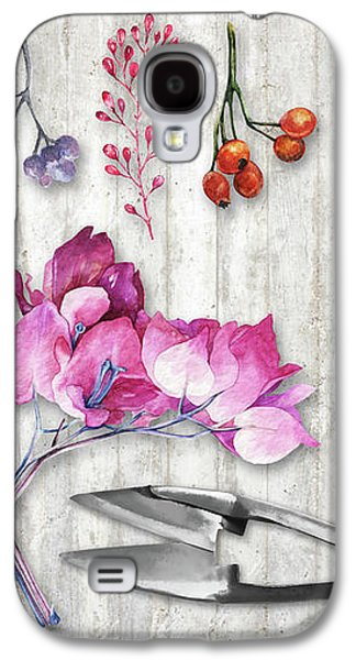 Botanica II Botanical Nature Study Flower, Leaf Seeds Galaxy S4 Case by Tina Lavoie