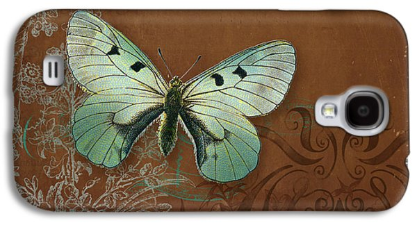 Botanical Galaxy S4 Cases - Botanica Vintage Butterflies n Moths Collage 4 Galaxy S4 Case by Audrey Jeanne Roberts