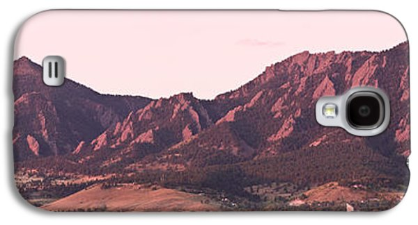 Pictures Photographs Galaxy S4 Cases - Boulder Colorado Flatirons 1st Light Panorama Galaxy S4 Case by James BO  Insogna