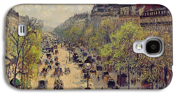 Chimneys Galaxy S4 Cases - Boulevard Montmartre Galaxy S4 Case by Camille Pissarro