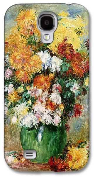 Canvas Galaxy S4 Cases - Bouquet of Chrysanthemums Galaxy S4 Case by Pierre Auguste Renoir