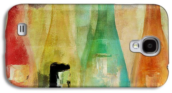 Champagne Paintings Galaxy S4 Cases - Bouteilles Galaxy S4 Case by Mindy Sommers