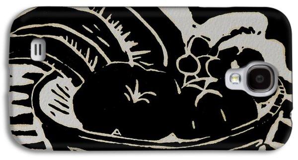 Lino Galaxy S4 Cases - Bowl of Fruit Lino Print Galaxy S4 Case by Caroline Street